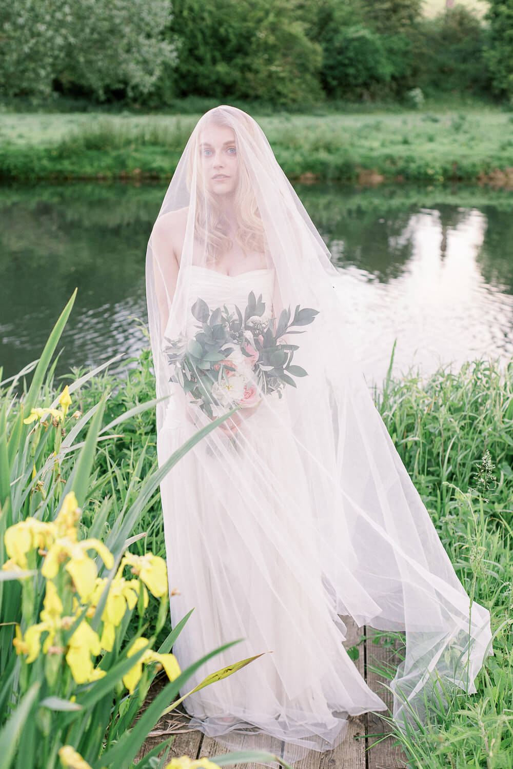 fine art bride photo session by the river