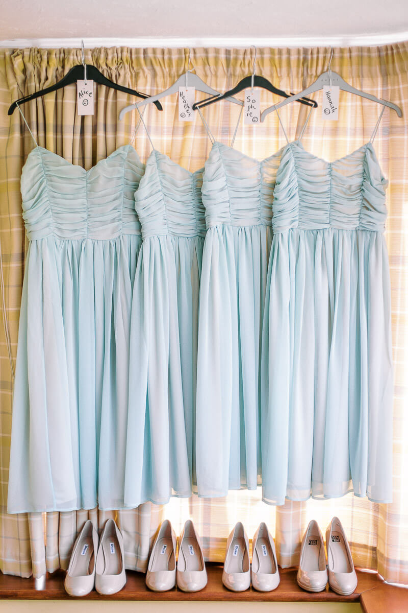 the dresses of the bridesmaids