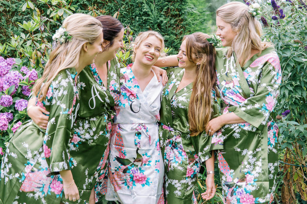 relaxed photo of the bride and bridesmaids