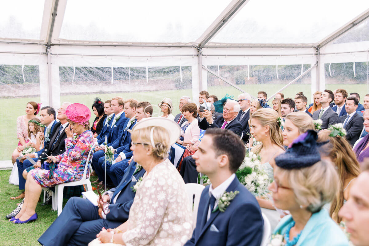 wedding guests at slaugham place marquee wedding