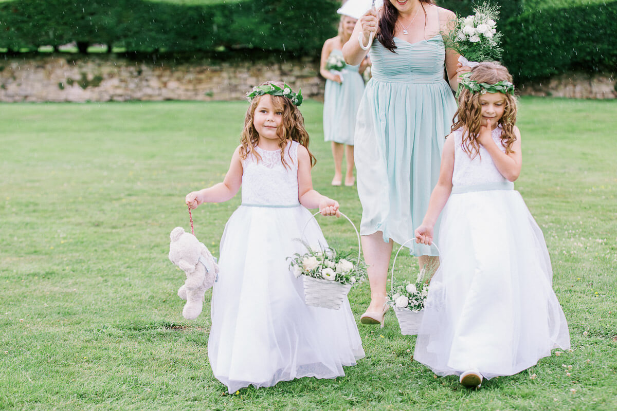 flower girls at the outdoor wedding in sussex