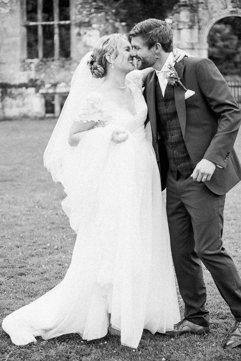 timeless black and white wedding photo of the bride and groom