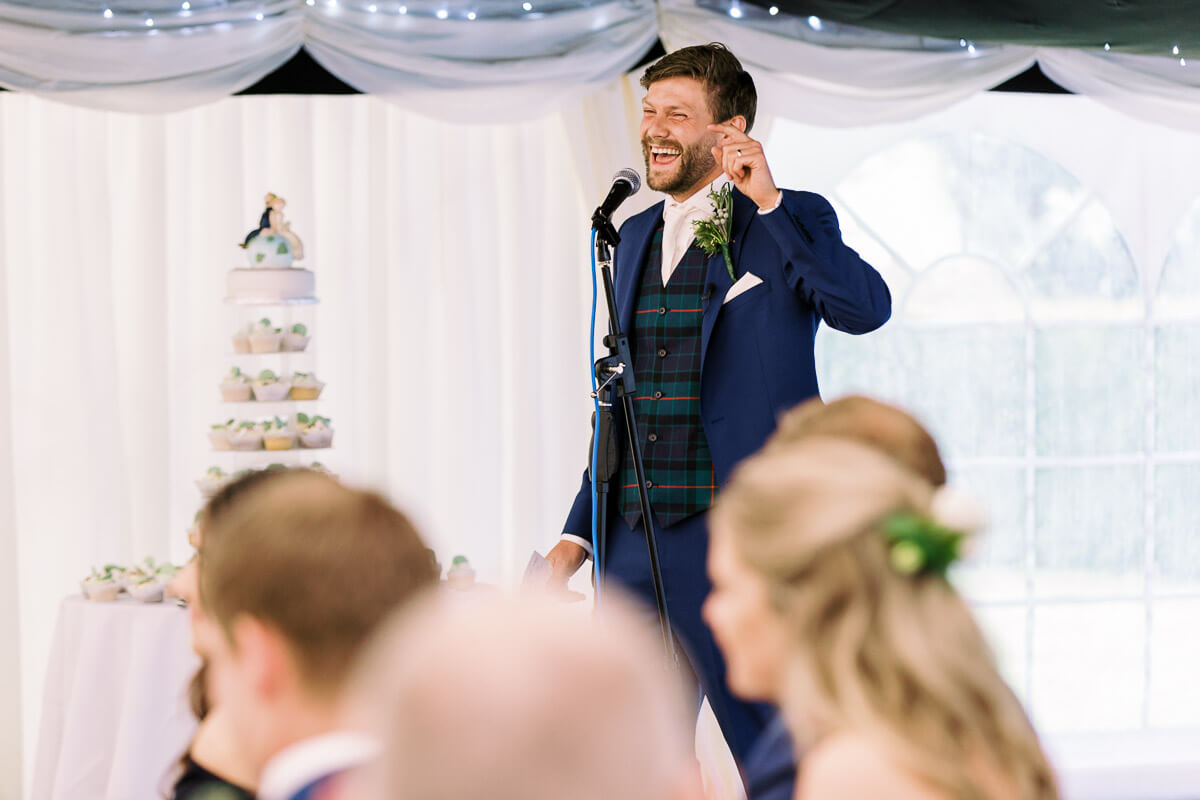 the grooms wedding speech at the marquee wedding