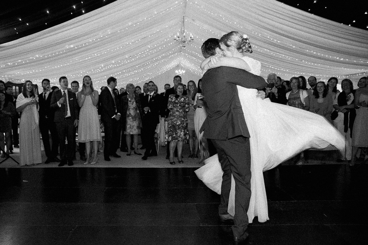 black and white photo of the first dance in wedding