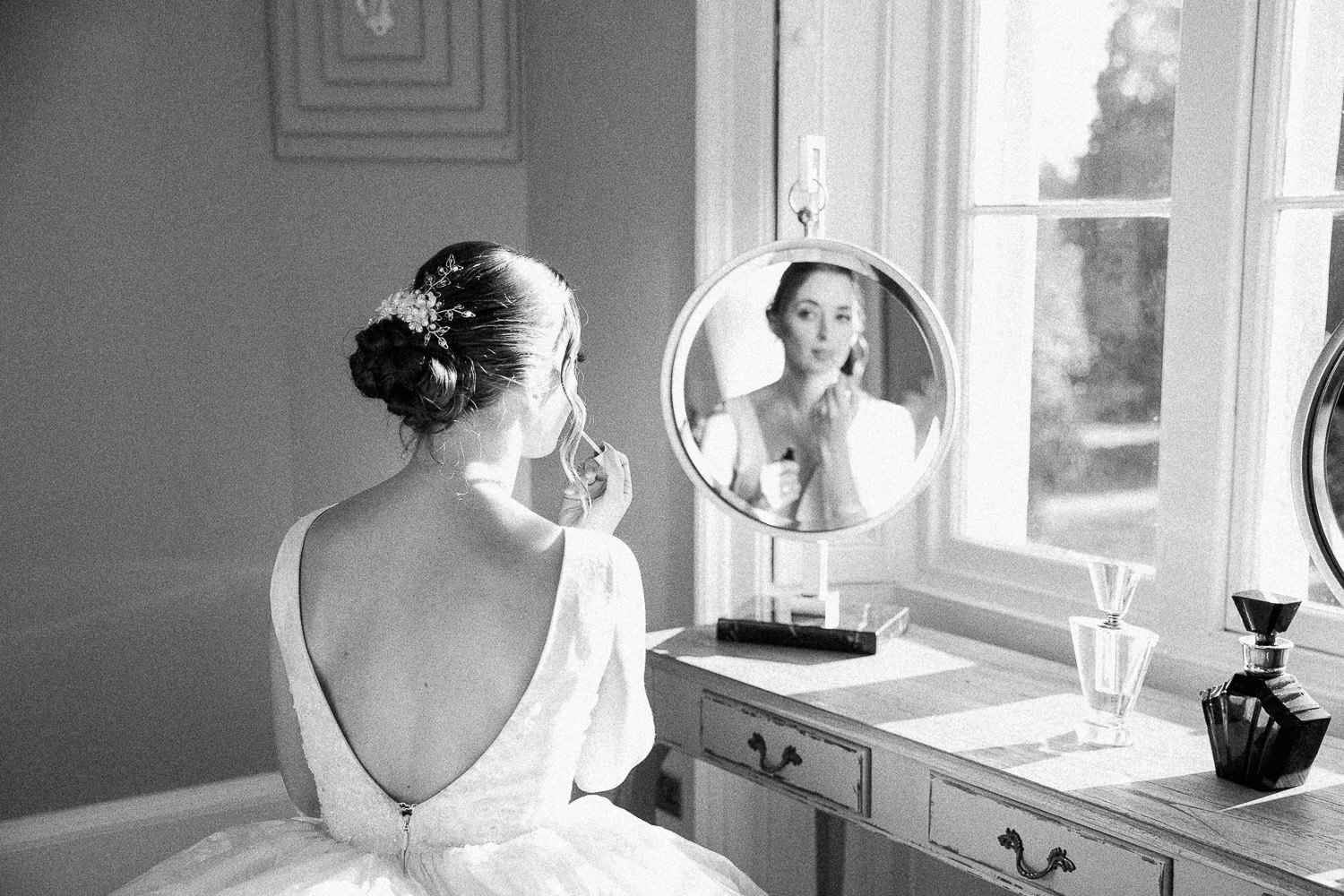 the bride getting ready at thicket priory in York