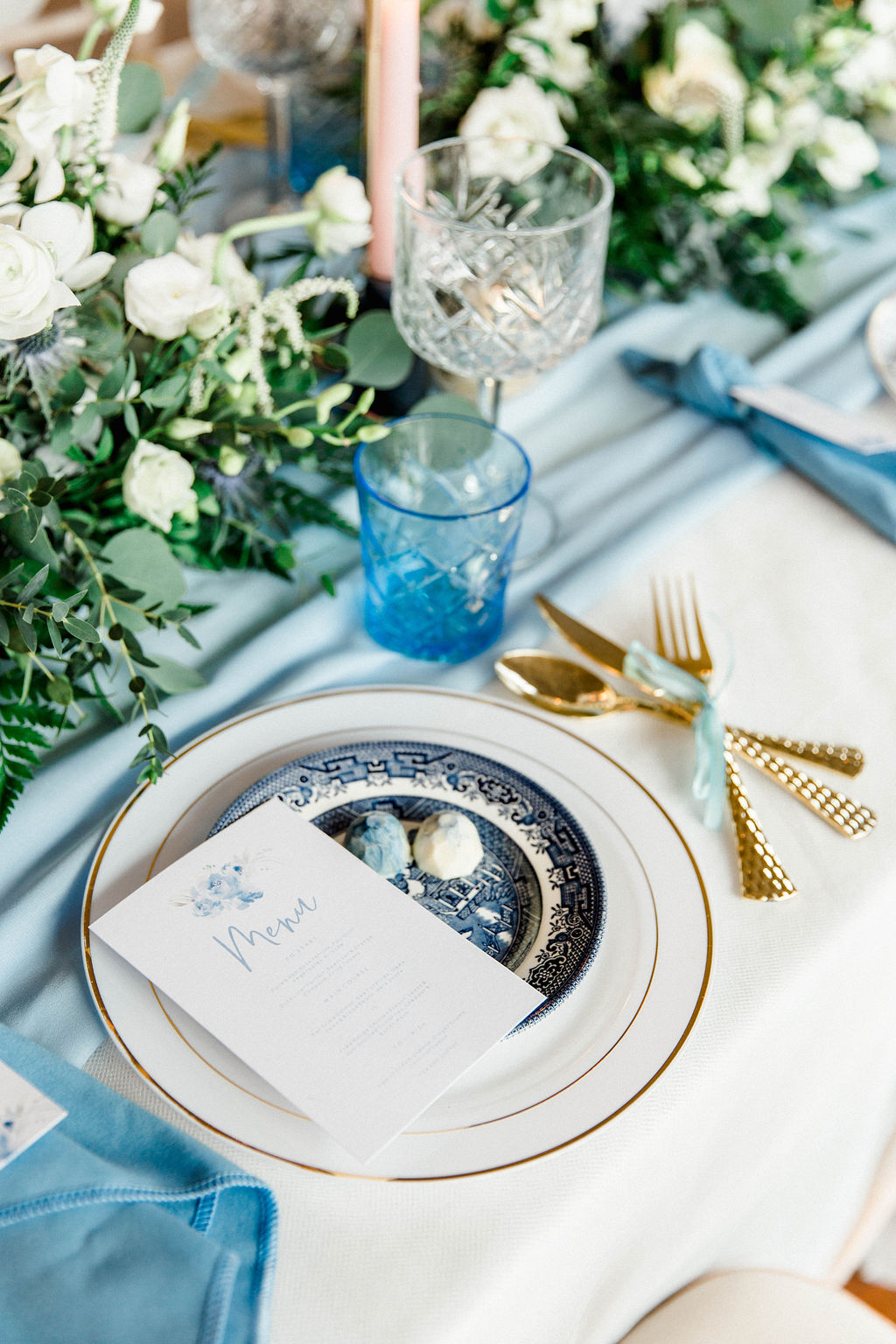 romantic and elegant wedding in York table setting