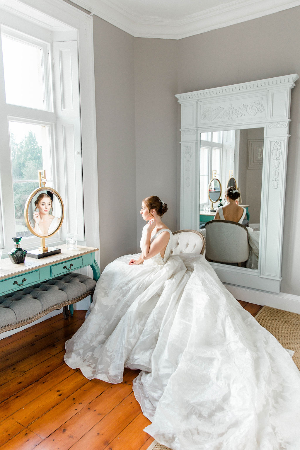 luxury bridal suit at thicket priory wedding venue in North Yorkshire
