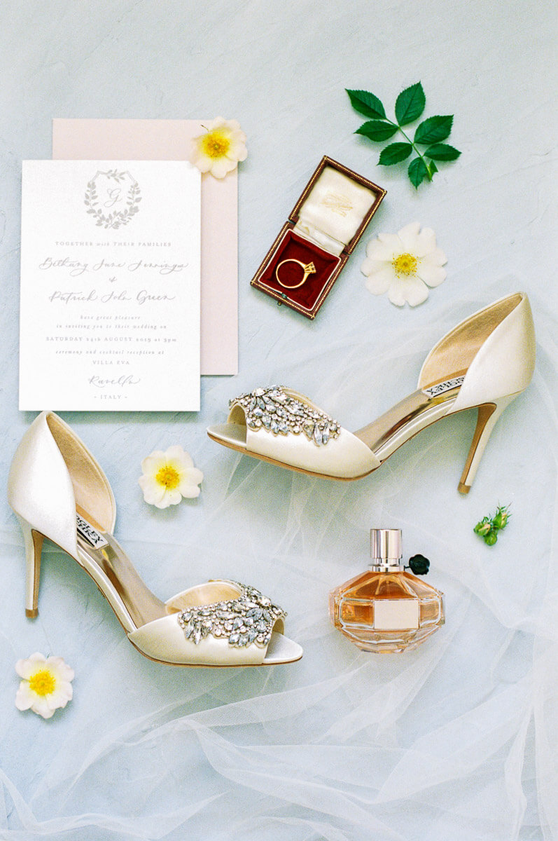 flat lay styling with romantic and sparkly wedding shoes
