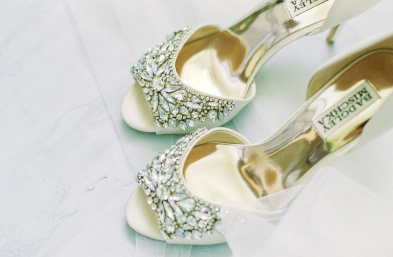 romantic and sparkly wedding shoes from badgley Mischka