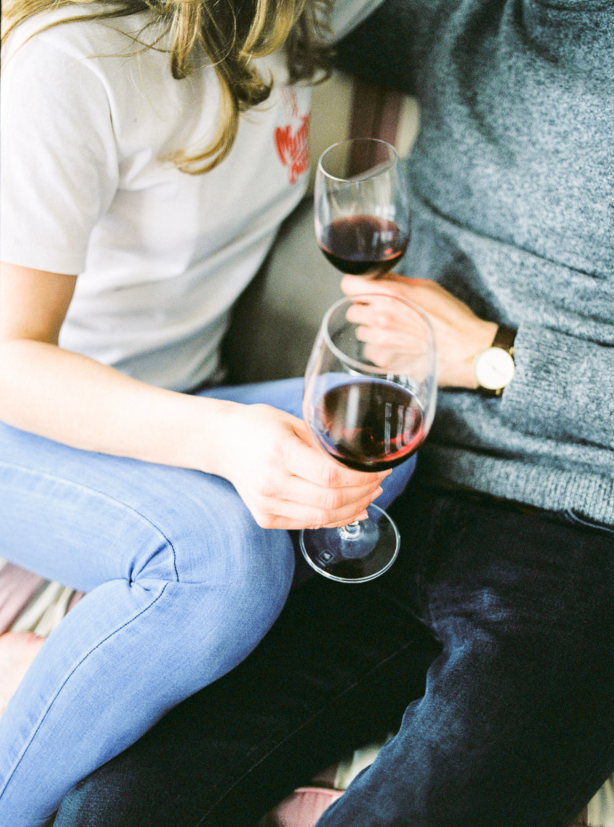 wine tasting at engagement session
