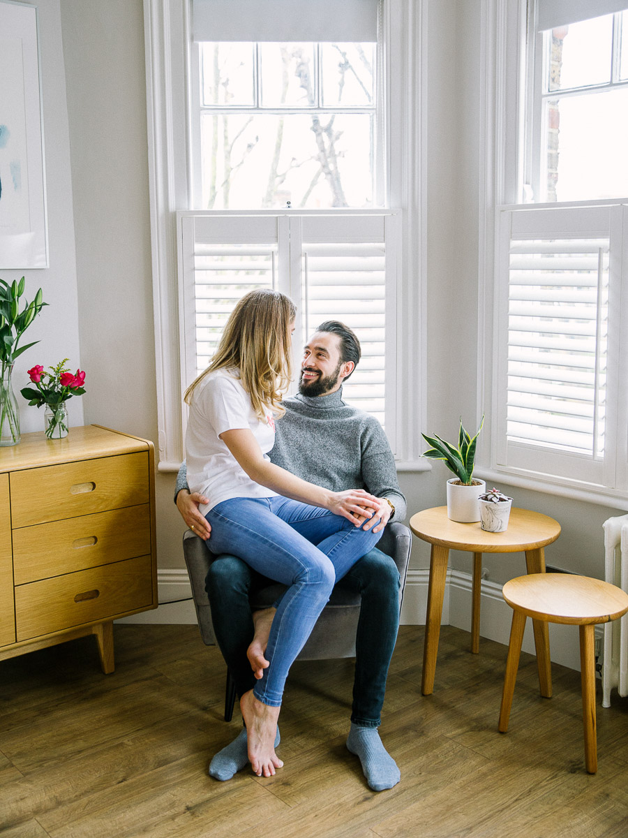 at home cozy engagement photography