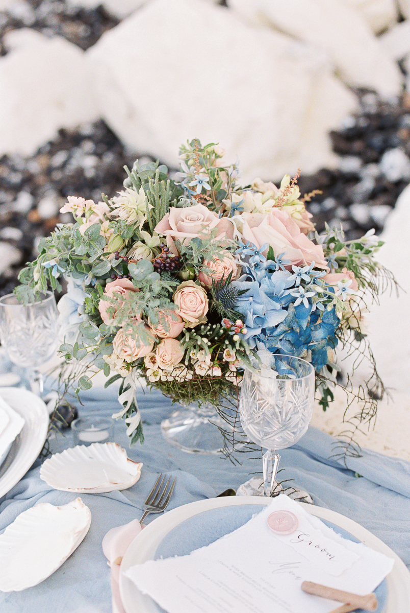 blue and pink wedding theme inspiration in florals