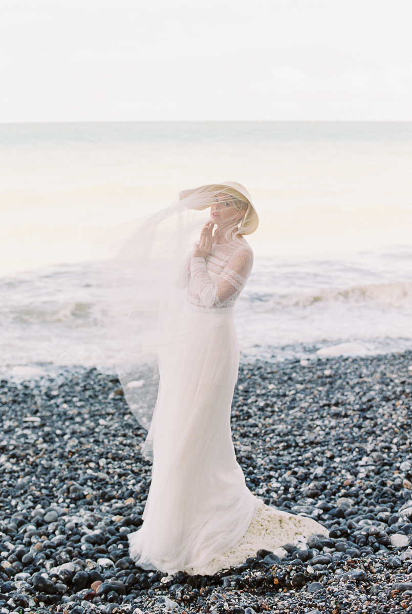 the beautiful bride at the coastal wedding editorial styled shoot