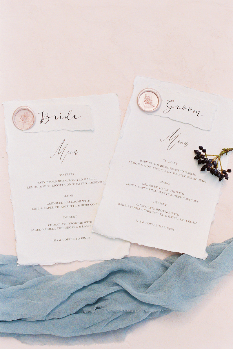 wedding day menue cards inspiration