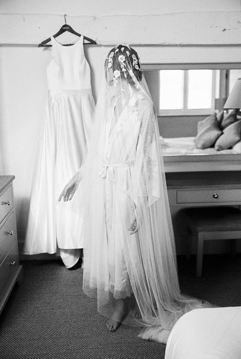 bride getting ready in the bridal suite at hencote estate