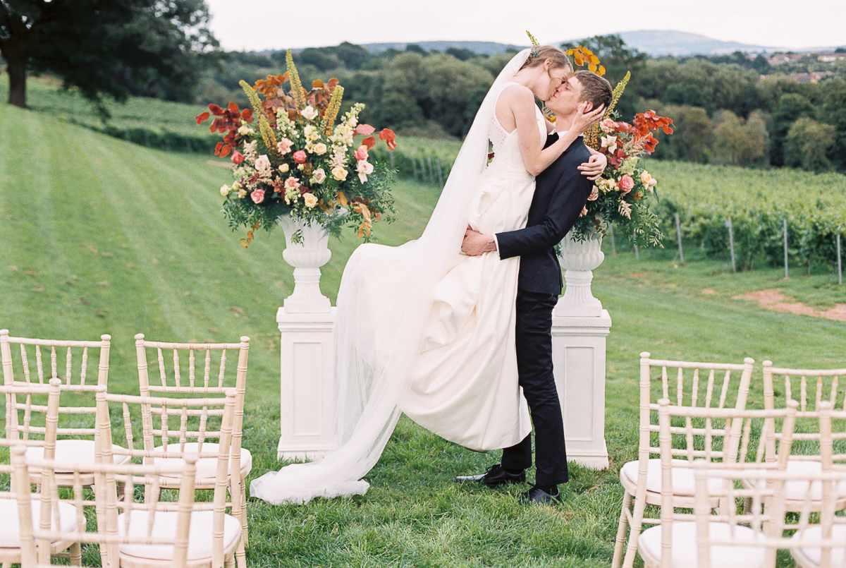 the first kiss after wedding ceremony