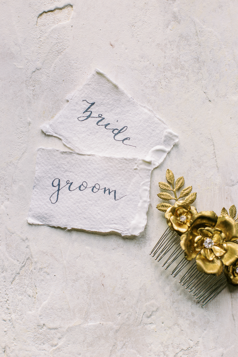 bride and groom tags for wedding table setting