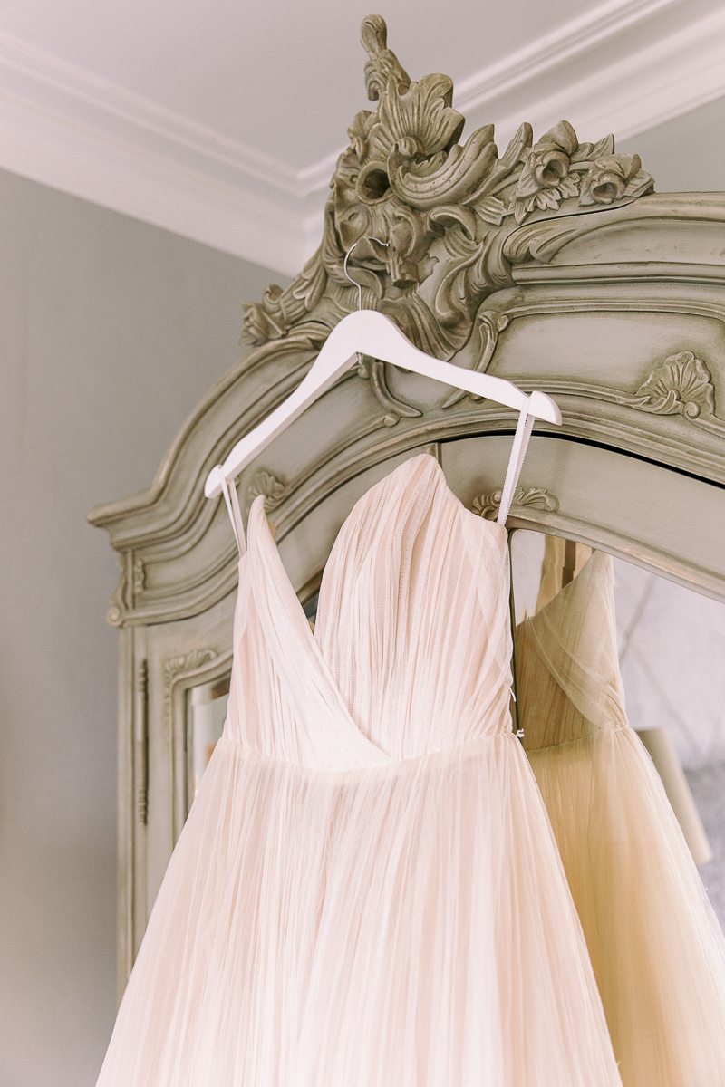 the wedding dress at the intimate wedding