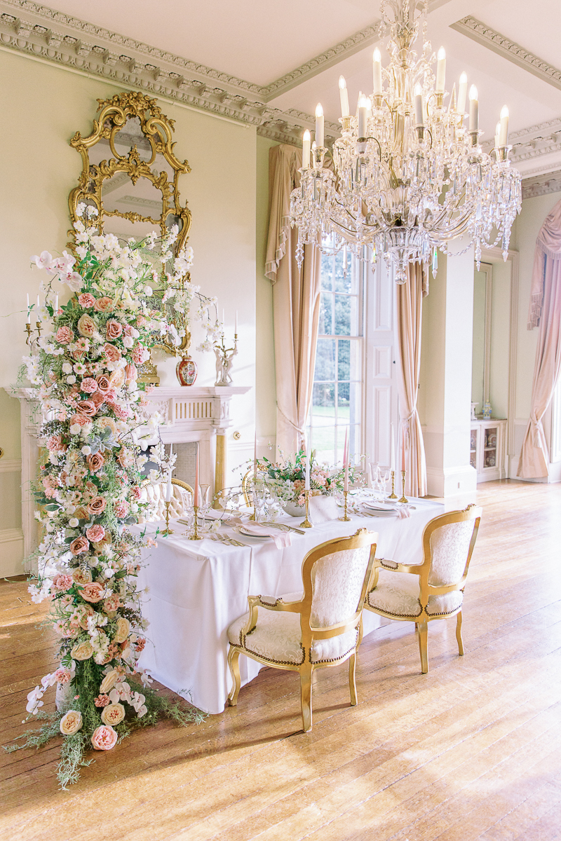 romantic intimate wedding table setting at prestwold hall