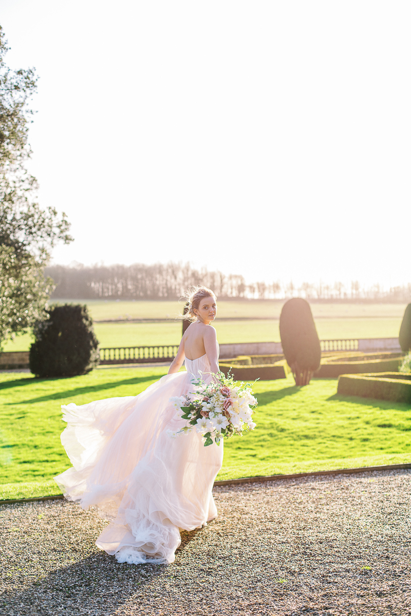 the bride photo in the sunset