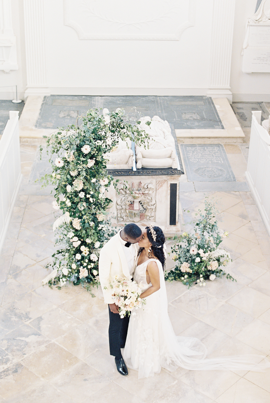 bride and groom at the wedding chapel